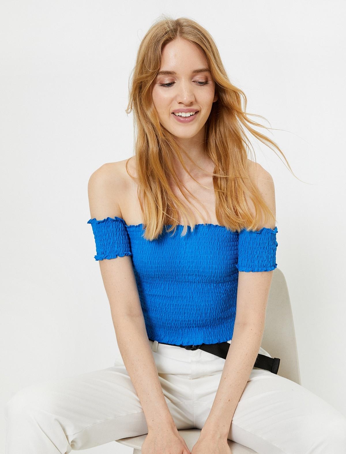 Koton Kadın Tişört Mavi/665 M-L Beden